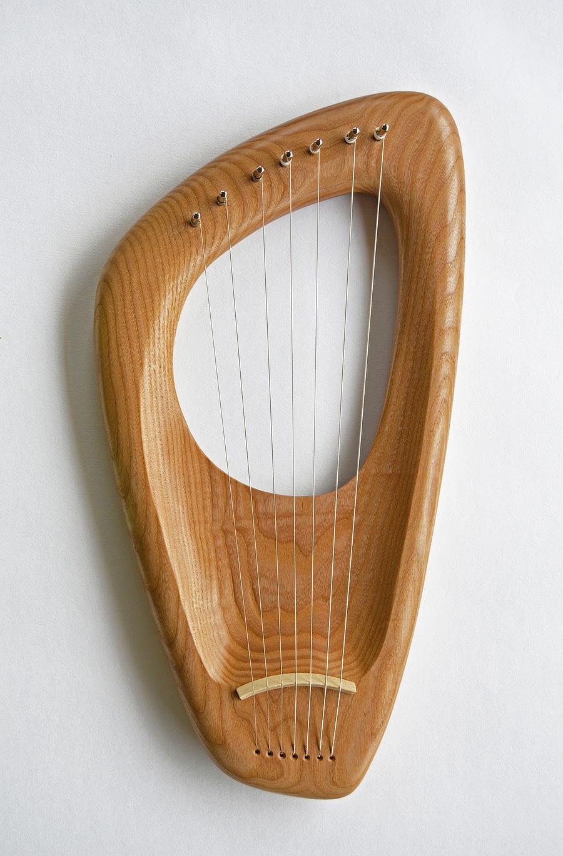 Custom set of 6 instruments, 7 String Pentatonic Lyre, Ash Wood